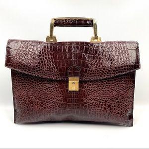 1970's faux patent crocodile briefcase bag w/strap